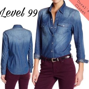 Level 99/Anthro | Chambray Denim Long Sleeve Shirt